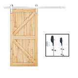 "SMARTSTANDARD 6.6FT Heavy Duty Sliding Barn Door Hardware Kit, Single Rail, Stainless Steel, Super Smoothly and Quietly, Simple and Easy to Install, Fit 36""-40"" Wide DoorPanel (J Shape Hanger)"