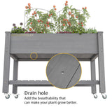 GOLDENPOLEY Heavy Duty Wooden Raised Garden Bed Kit with Lockable Wheels/Storage Shelf