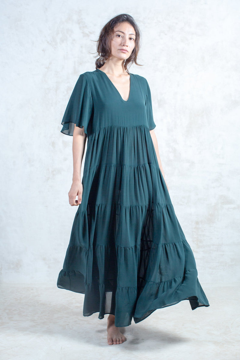 Emerald Silk Amaya Dress