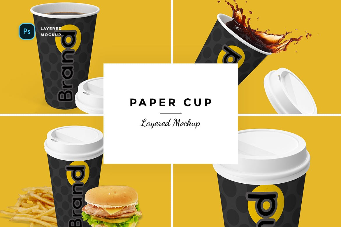 Layered Paper Cup Mockup