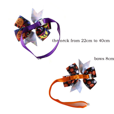 Halloween Bowties Dog-Accessories Collar Halloween-Decoration-Products Puppy Pumpkin