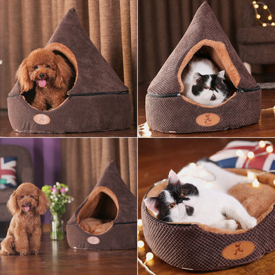 HOOPET Bed Tent Dog-House Yurt-Bed Washable-Cushion Pet-Dog Dogs Dirt-Resistant Double-Sided