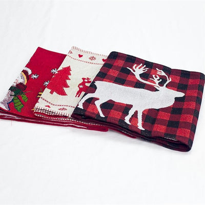 Runners Cloth-Cover Christmas-Table New-Year-Decoration Deer Home Cotton for Embroidered