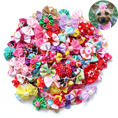 Hair-Bows Hair-Accessories Small Wedding-Party Pet-Supplies Puppy Pet-Dog Dogs for Handmade