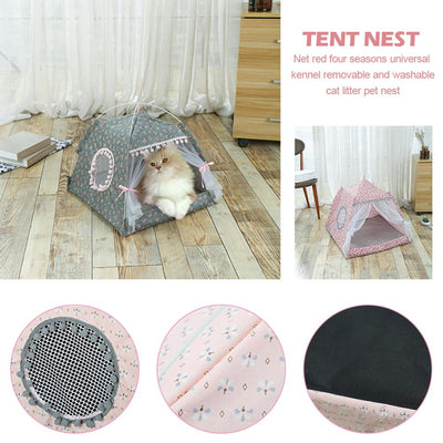 Tent House Kennel Pet-Nest Removable Dog Small Indoor Bed Washable Soft