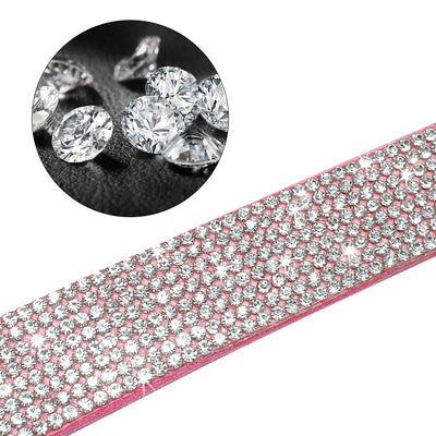 Leash-Set Collars Rhinestone Dogs Adjustable Pink Suede Small Walking Puppy Medium XS