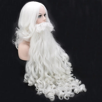 Christmas Cosplay Wig Beard Santa Claus White Curly Long Synthetic Hair Adult Cosplay Costume Christmas
