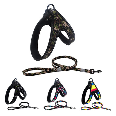 Leash-Set Pet-Harness-Vests Dogs Reflective Camouflage Medium/large And for Paddy