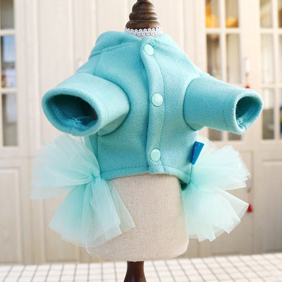 Dresses Tutu Poodle-Clothes Pet-Dog Dogs Small Autumn Spring for Bowknot Teddy Cat