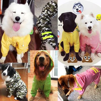 HOOPET Jumpsuit Jacket Rain-Coat Labrador Dog-Riancoat Golden Retriever Waterproof Pet-Cloak
