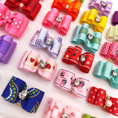 Hair-Bows Grooming-Accessories Pet-Products Puppy Dog Rhinestone Small 100pcs Cat