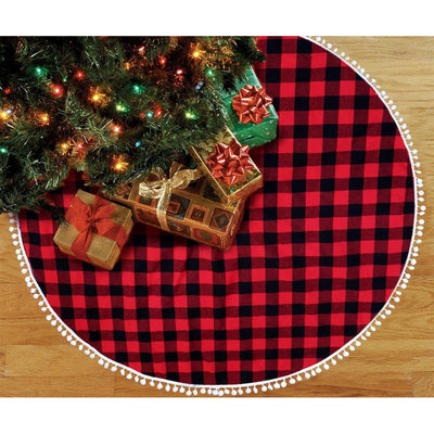 Ourwarm Skirt Christmas-Tree-Decor Buffalo Plaid Red for Hotel 48inch Double-Layers Home