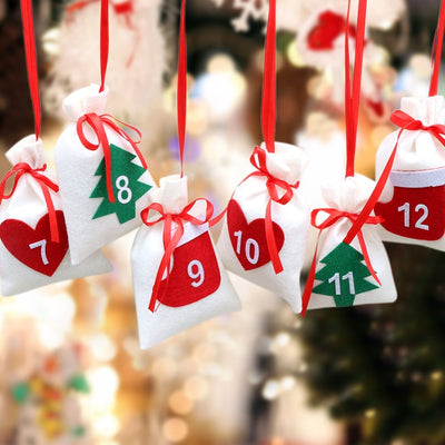 OurWarm 31pcs Fabric Christmas Countdown Advent Calendar Candy Bags Hanging New Year Gift