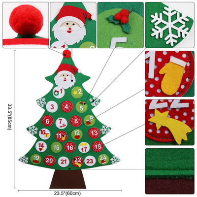 OurWarm Christmas Party Felt Tree Advent Calendar Number Stickers Door Wall Hanging Decorations