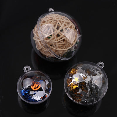 10 Sets Empty Christmas Tree Hanging Decorations Round Ball Transparent Open Plastic Clear