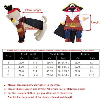 Cat Pirate Costume Funny Dog Clothes Suit Corsair Dressing up Party Apparel