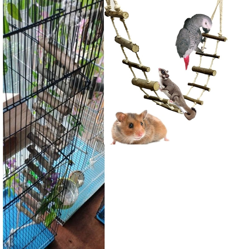 Pet Bird Parrot Rope Swing Climb Toys Cage Hanging Chew Toys