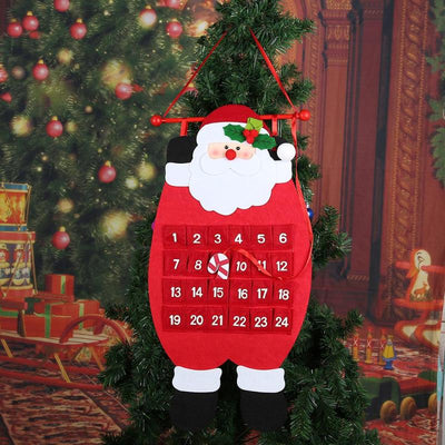 Christmas Advent Calendar Santa Claus Snowman Elk with Cloth Hooks Xmas New Year