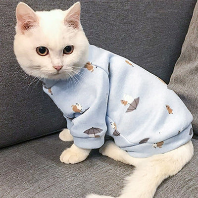 Cute Print Pet Cat Costume Hoodie Winter Warm Cat Clothes for Cats Soft Fleece Puppy