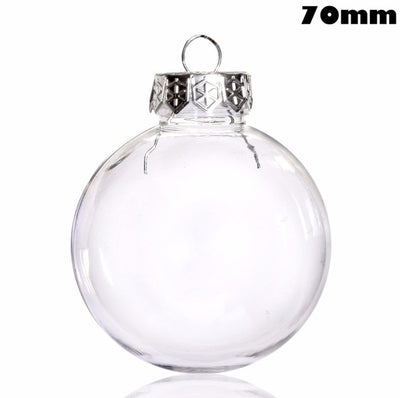 DIY Paintable/Shatterproof Clear Christmas Ball Decoration 80mm Plastic Disc Ornament