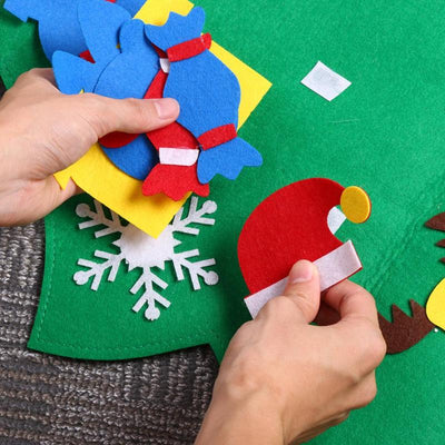 Kids DIY Stereo Felt Christmas Tree with Decorations Door Wall Hanging Felt Christmas Tree