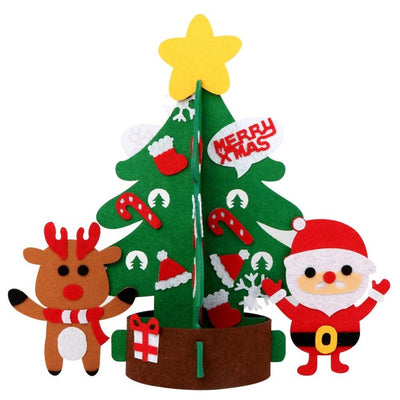 OurWarm DIY Felt Christmas Tree Ornaments Decorations New Year Kids Toys Gifts Artificial Tree Door Wall Hanging Decor