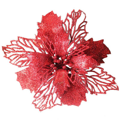 Flower Valentine's-Day-Decoration Christmas Plastic Glitter 15cm 10PCS Simulation Wedding