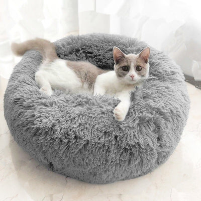 Cat-Bed House Panier Round Washable Plush Soft for Haustiere Chat Long Pet-Cat