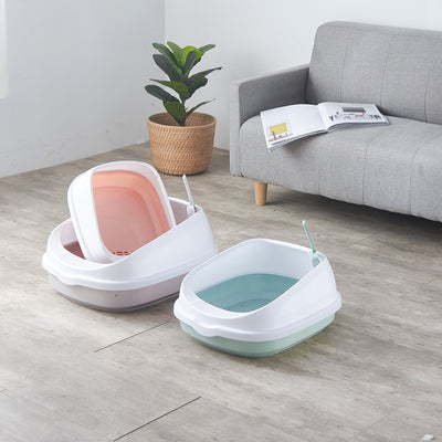 Pet Cat Toilet Semi-enclosed high fence detachable cat litter box cat toilet Tray Clean Scoop Home Plastic