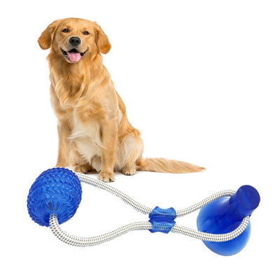 Pet-Toy Rubber-Ball Suction-Cup Iq Chewing Interactive Tooth-Cleaning Treat Dog-Push