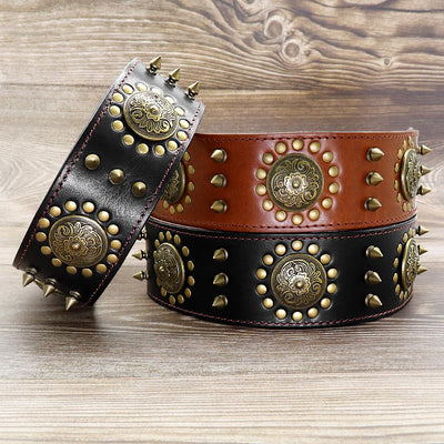 Leather Large Dog Collar Pitbull Spiked Studded Collars for Medium Large Big Dogs