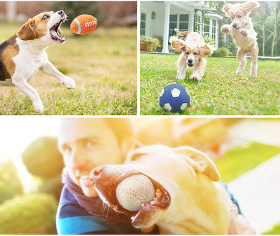 HOOPET Pet Dog Toy Balls Squeak Puppy Toys Interesting Tennis Football Tooth Cleaning