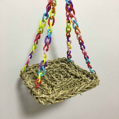 Parrot Swing Pet-Toys Straw-Perch Bird Toy-Supplies Hammock Platform Hanging