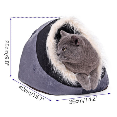 House Cat Nest Kitten Bed Cave Foldable Home-Shape Kennel Pet-Cat Soft Warm Winter Dog
