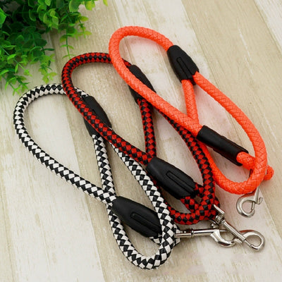 New PU leather Weave Medium and large dog leash Short Traction Round rope big dog chain