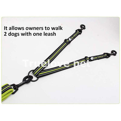 Truelove Double-Dog-Leash Training Reflective Adjustable Walking for Free