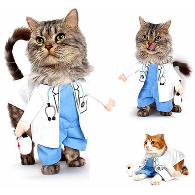 Funny Doctor Cat Nurse Suit Pet Halloween Christmas Clothing Uniform