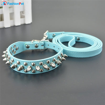 PU Leather Pet Dog Collars Round Spikes Studded Dog Puppy Collar and Leash Set