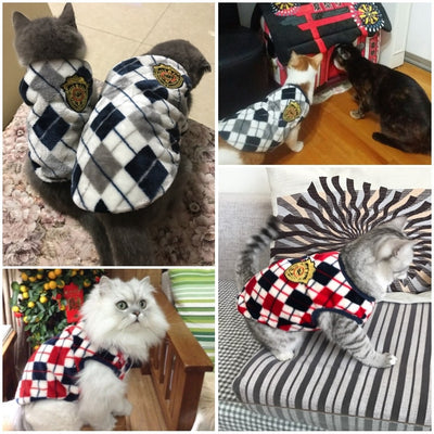 Autumn Winter Flannel Cat Shirt Pet outfit Cat Coat Clothes for Small Cat