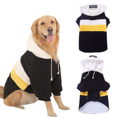 HOOPET Pet Big Dogs Autumn and Winter Wear Warm Clothes Walking Dress Two Feet