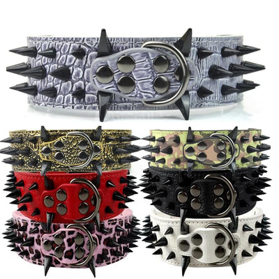 "Global Baby 2"" Width Spike Studded Dog Collars Strong Leather Large Big Dog Pet Collars"