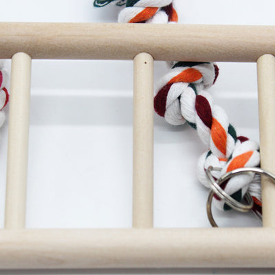 Petforu Bird Solid Wood Climbing Ladder Swing Chew Toy