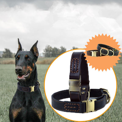 Pet-Dog-Collars Top-Quality Genuine-Leather Dogs Adjustable Large Medium for Heavy-Duty