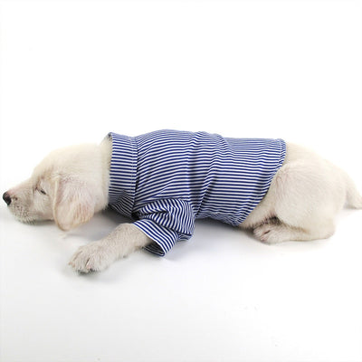 HOT Spring and Summer Pet Clothes New Puff Sleeve Suits Stripes Structured Dog Clothes