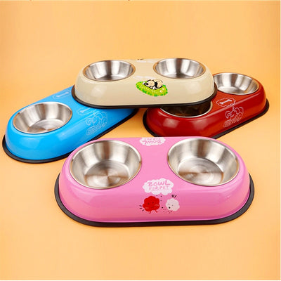 Dog-Bowl Puppy Travel-Feeding-Feeder Water-Dish Stainless-Steel for Pet-Dog Dou4-Sizes