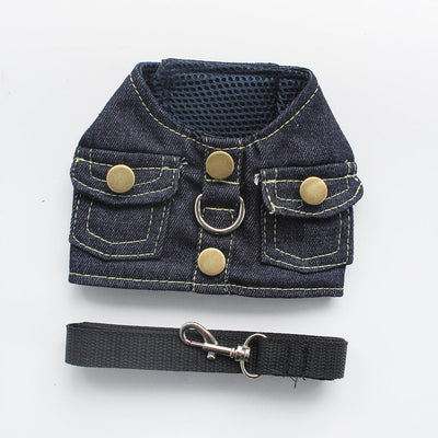 Vest Small Dog Halter Harness Lead Denim Chest Strap For Dogs Pet Puppy Supplies