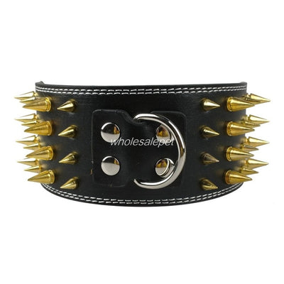3 inch Wide Spikes Studded Leather Pet Dog Collar for Large Breeds Pitbull Doberman