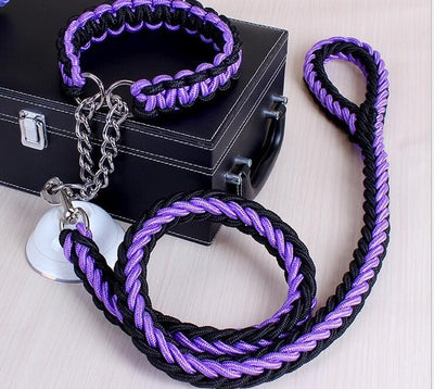 Large Dog Collar-Set Traction-Rope Leashes P-Chain Metal for Big Buckle