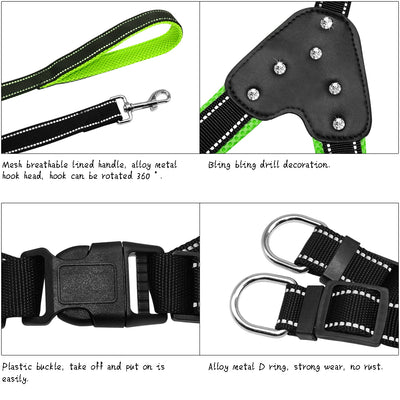 Harnesses Leash-Set Reflective Rhinestone-Dog Safety Small-Dog Nylon Walking Step Padded
