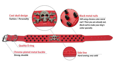 Rivets Studded Pet-Accessories Boxer Skull Bullet Dog-Collar Wide-Spiked Dogs Cool Large